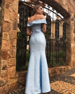 Vestido de festa longo, zibeline, ombro a ombro sereia, para formandas, madrinhas, mãe de noivo (a)