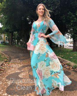 Vestido de festa longo, estampado grego, para madrinhas, convidadas, formandas