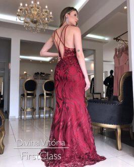 Vestido de festa longo, marsala sexy, para madrinhas, formandas