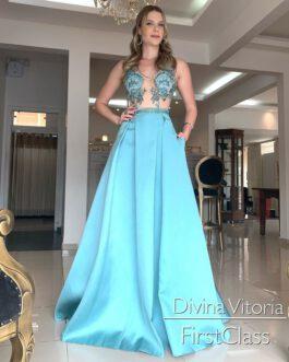 Vestido de festa longo, Azul Tiffany, para madrinhas, formandas