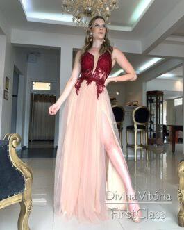 Vestido de festa longo, marsala e nude, para madrinhas, formandas, mãe de noivo(a)