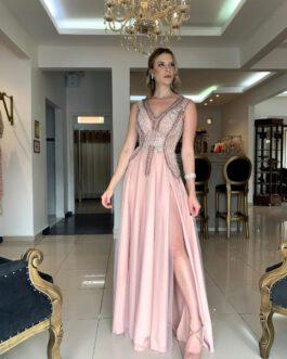 Vestido de festa longo, delicado, para madrinhas, formandas, mãe de noivo (a)