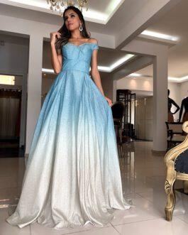 Vestido de festa longo, degrade, para formandas, debutante