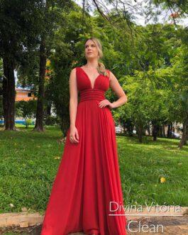 Vestido de festa longo, grego com pérola, para madrinhas, formandas, mãe de noivo(a)