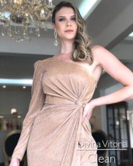 Vestido de festa longo, um ombro só lurex, para madrinhas, formandas, mãe de noivo(a), convidadas.