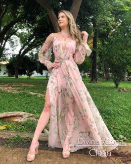 Vestido de festa longo, estampado manga removível, para convidada, madrinha