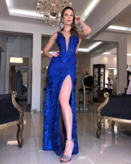 Vestido de festa longo, azul royal bordado, para madrinhas, formandas