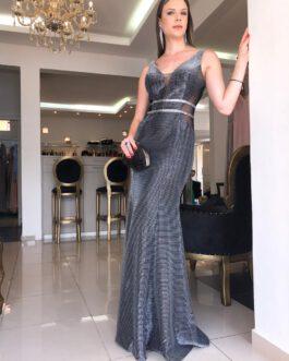 Vestido de festa longo, chumbo metalizado, para madrinhas, formandas, mãe de noivo (a)