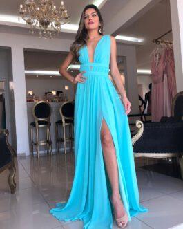Vestido de festa longo, estilo grego, para madrinhas, formandas, convidadas