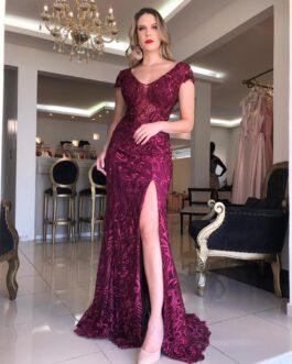 Vestido de festa longo, inteiro rendado, para madrinhas, formandas, mãe de noivo (a)
