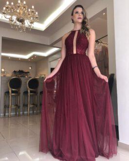 Vestido de festa longo, saia tule, para madrinhas, formandas, convidadas, mãe de noivo (a)