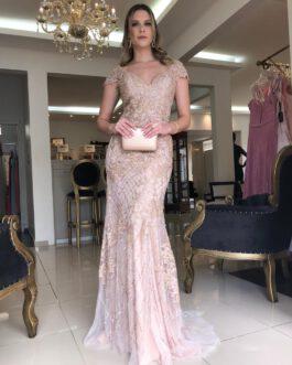 Vestido de festa longo, inteiro bordado, para madrinhas, formandas, mãe de noiva (o)