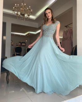 Vestido de festa longo, top bordado, saia fluida, para madrinhas, formandas, mãe noivo (a)