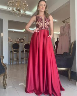 Vestido de festa longo, top bordado, para madrinhas, formandas, mãe de noivo (a)