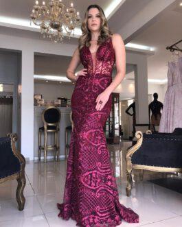 Vestido de festa longo, bordado, para madrinhas, formandas, convidadas, mãe de noivo (a)
