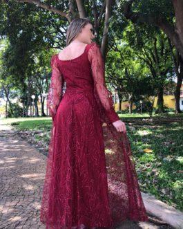 Vestido de festa longo, com manga, para madrinhas, formandas, mãe de noivo (a)