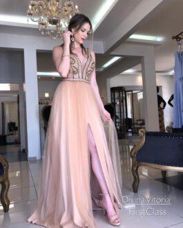 Vestido de festa longo, top bordado e saia em tule, para formandas, madrinhas e mãe de noiva (o).