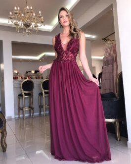 Vestido de festa longo, top bordado e saia em tule, para mãe de noiva (o), madrinhas e formandas.