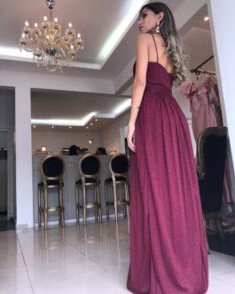 Vestido de festa longo, todo em lurex, para madrinhas e convidadas.