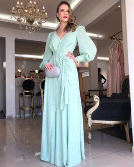 Vestido de festa longo, de manda longa com nó na cintura, para madrinhas, mãe de noivo (a) e convidadas.