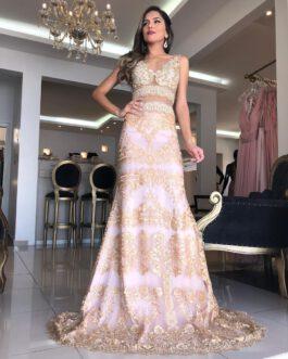 Vestido de festa longo, todo em renda com top bordado, para mãe de noiva (o), madrinhas e formandas.