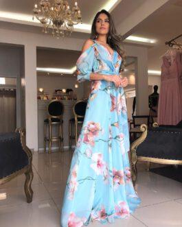 Vestido de festa longo, estampado de saia fluida, para madrinhas, mãe de noivo(a) e convidadas.