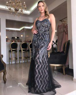 Vestido de festa longo, tomara que caia bordado, para formandas, madrinhas, mãe de noivo (a)