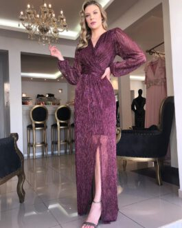 Vestido de festa longo, lurex com manga longa e fenda, para convidadas, madrinhas, formandas e mãe de noivo (a)