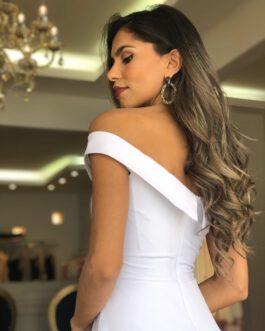 Vestido de festa longo branco para noivas