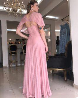 Vestido de festa longo, lurex plissado, para formandas, madrinhas, mãe de noiva(o)