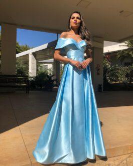 Vestido de festa longo, zibeline ombro a ombro, para madrinhas, formandas, mãe de noiva (o)