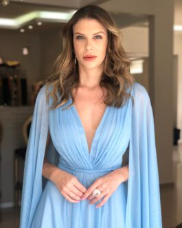 Vestido de festa longo lurex com capa, para madrinhas, mãe de noiva(o), formandas.