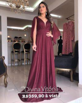 Vestido de festa longo em lurex, manga de lenço e saia fluida, para madrinhas, mãe de noiva (o) e convidadas.