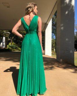 Vestido de festa longo, tecido em lurex, para madrinhas, formandas, mãe de noiva(o)