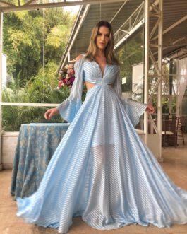 Vestido de festa longo, manga longa com babados, para madrinhas, formandas, mãe de noivo (a), convidadas.