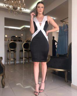 Vestido de festa curto, preto e branco com recortes, para convidada de casamento, formatura, aniversários