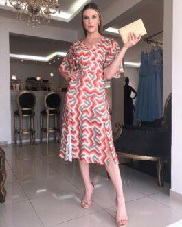 Vestido de festa Midi, estampado com manguinha, para convidadas de casamento, formatura, aniversários