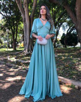 Vestido de festa longo, com mangas e pregas na saia, para madrinhas, formandas, mãe de noivo (a)