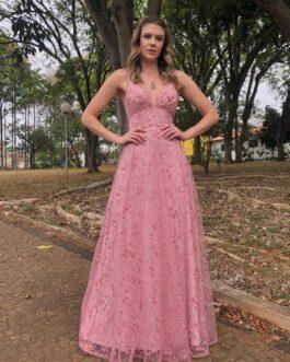 vestido de festa longo, inteiro rendado de alcinha, para madrinhas, formandas, mãe de noiva