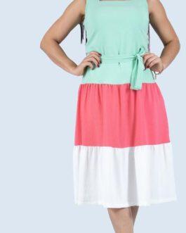 Vestido midi, em três tonalidade com babados, top quadrado e cintinho