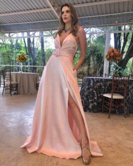 Vestido de festa longo, tomara que caia com fenda lateral, para madrinhas, formandas, mãe de noivo (a), convidadas