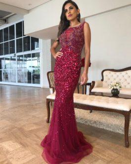 Vestido de festa longo, inteiro bordado modelo sereia, para formandas, madrinhas, mãe de noivo (a)