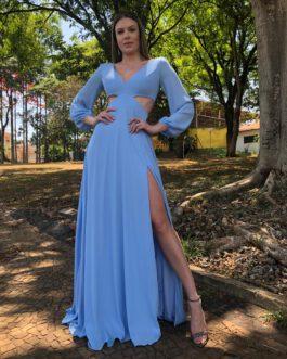 Vestido de festa longo, cintura aberta e manga longa, para madrinhas, convidadas e formandas.