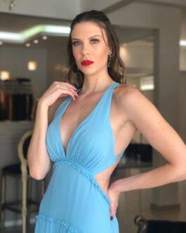 Vestido de festa longo saia em camadas abertura lateral costas abertas, para madrinhas, formandas, mãe de noivo (a)