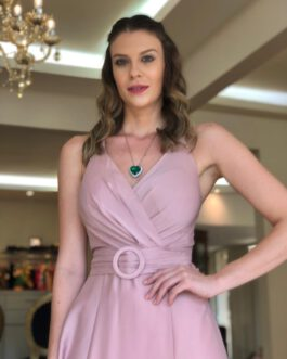 Vestido de festa longo liso, top transpassado e saia fluida, para madrinhas, mãe de noiva (o) e convidadas.