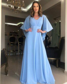 Vestido de festa longo com capa em musseline, para madrinhas, mãe de noiva (o) e convidadas.