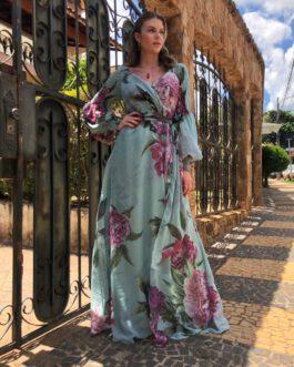 Vestido de festa longo estampado com lastex na manga longa bufante para madrinhas, mãe de noiva (o) e convidadas.