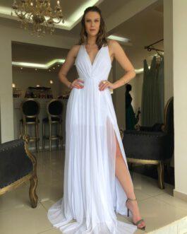 Vestido de festa longo branco para noivas, casamento civil e cerimonia intimista.