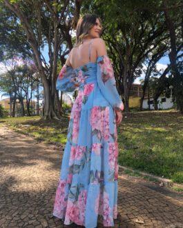 Vestido de festa longo estampado, com forro curto e manga longa, para madrinhas e convidadas.