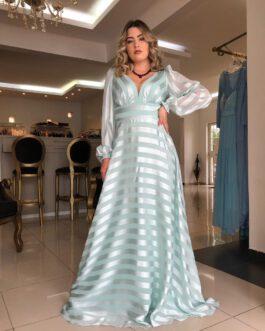 Vestido de festa longo, manga longa com fitas, para madrinhas, formandas, mãe de noivo (a), convidadas.